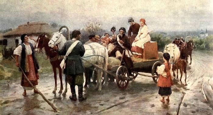 Картина Пимоненко: Выкуп невесты на свадьбе