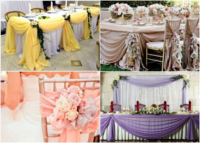 Ткань как украшение свадебного стола на фото