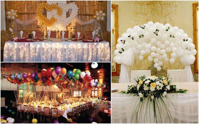 Шары – элегантное украшение свадебного стола