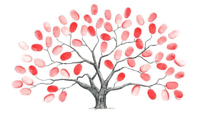 Пожелания на отпечатках пальцев для свадебного деревца