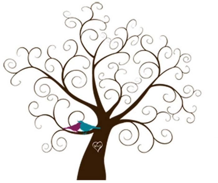 Вензеля на ветках свадебного деревца пожеланий