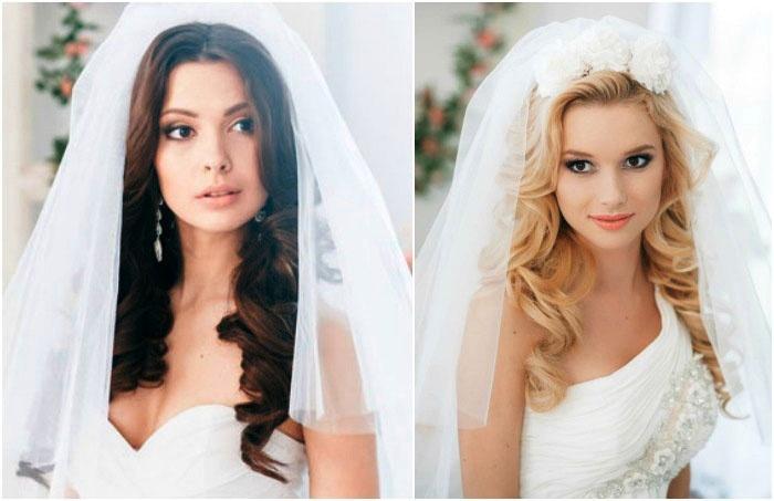Красивый свадебный образ – распущенные волосы и фата