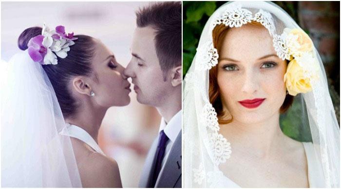 Украшение свадебной укладки и фаты цветками