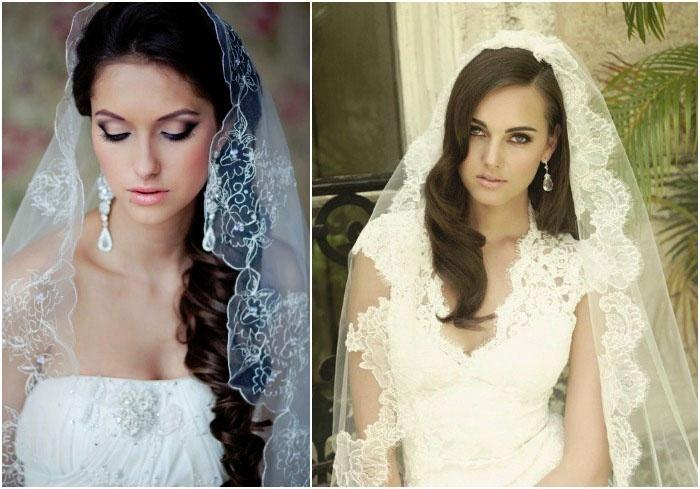 Свадебная укладка и фата для длинноволосых невест