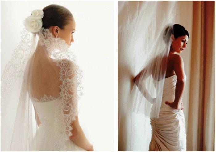 Свадебная укладка и фата для средней длины
