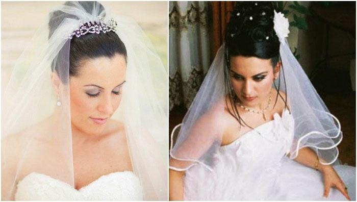 Фото: высокие прически на свадьбу c фатой