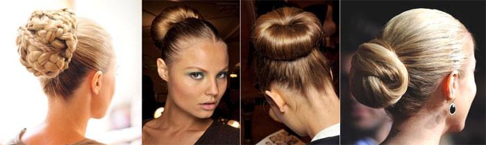 Пучок-гулька из кос для свадебной прически