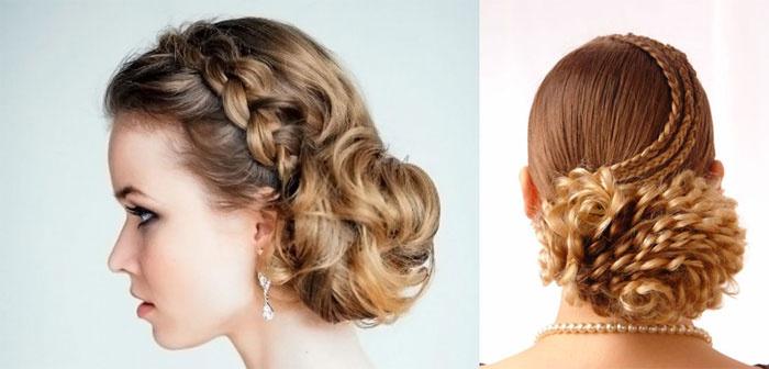 Переплетенные косы и пучок на свадьбу