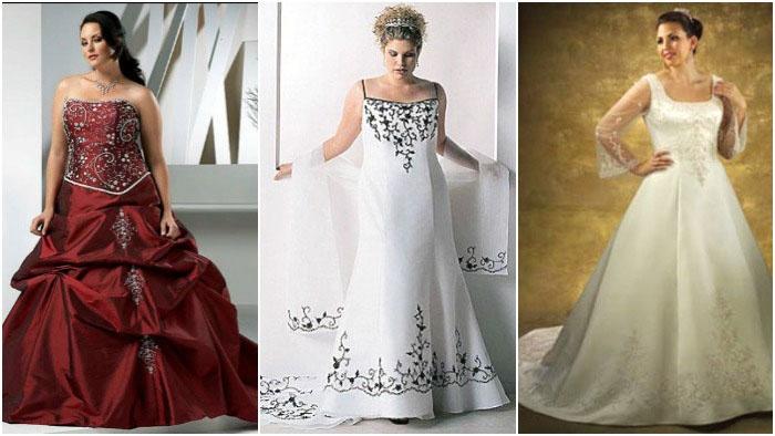 Цветные модели свадебных нарядов для пышечек