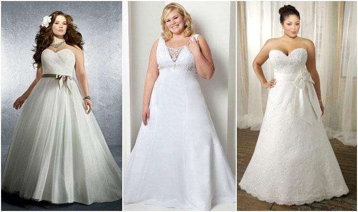 Свадебный наряд-трапеция полной невесте
