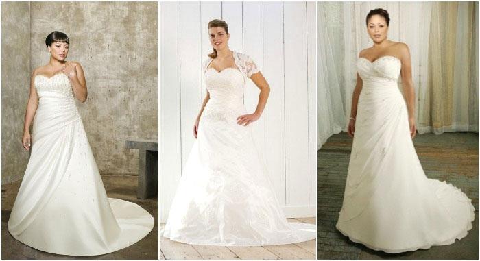 Платье со шлейфом полной невесте