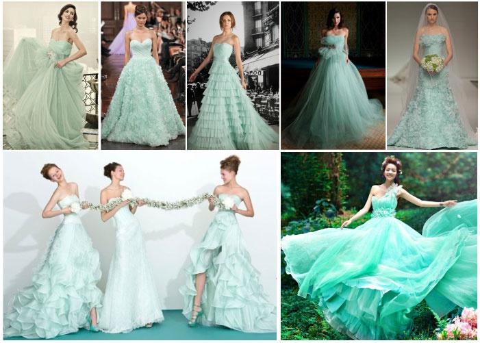Платье невесты цвета мяты