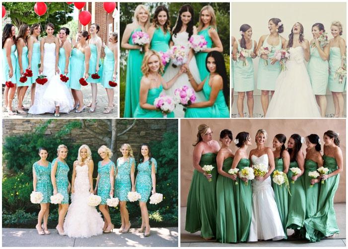 Примеры мятных нарядов подружек невесты