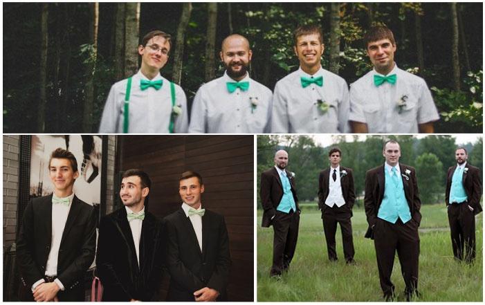 Примеры мятных нарядов друзей жениха