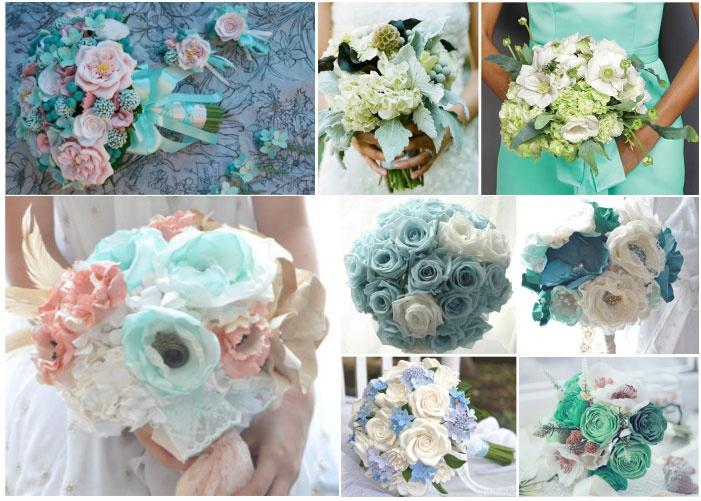Варианты мятного букета невесты