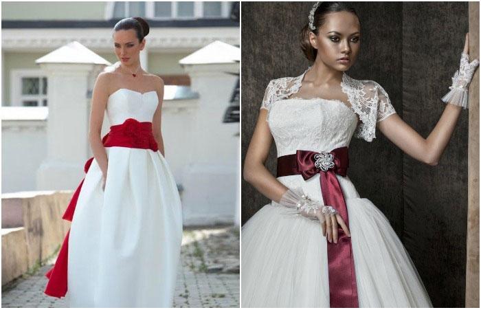 Свадебные платья с бордовыми акцентами