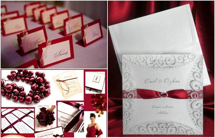 Приглашения, рассадочные карточки на бордовую свадьбу