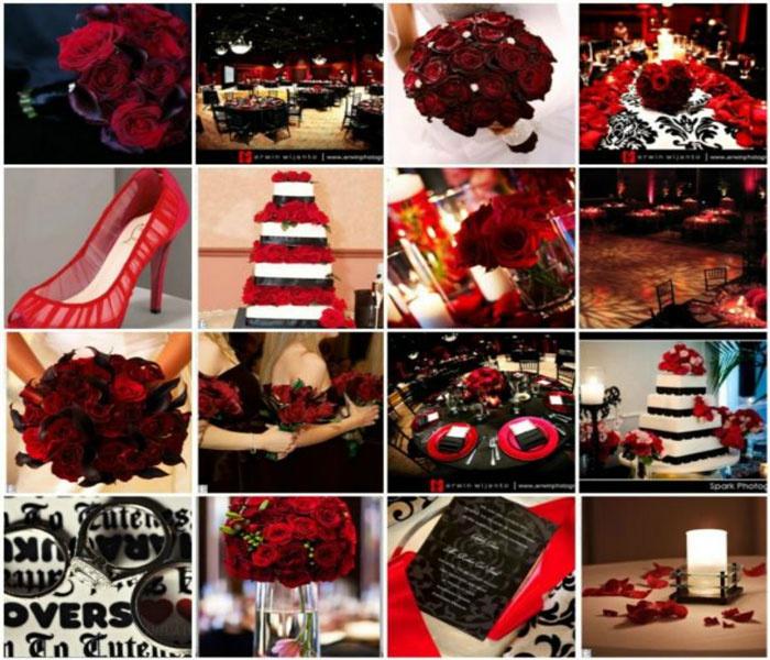Сочетание красного и черного цвета к свадьбе
