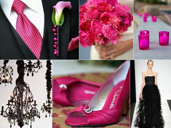 Оформление розово-черной свадьбы