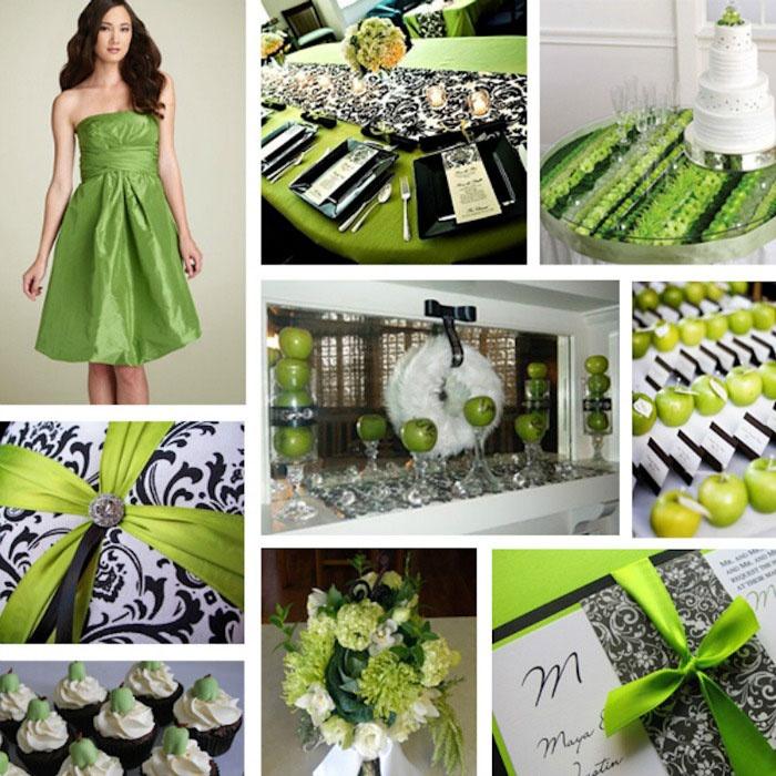 Сочетание зеленого и черного к свадьбе