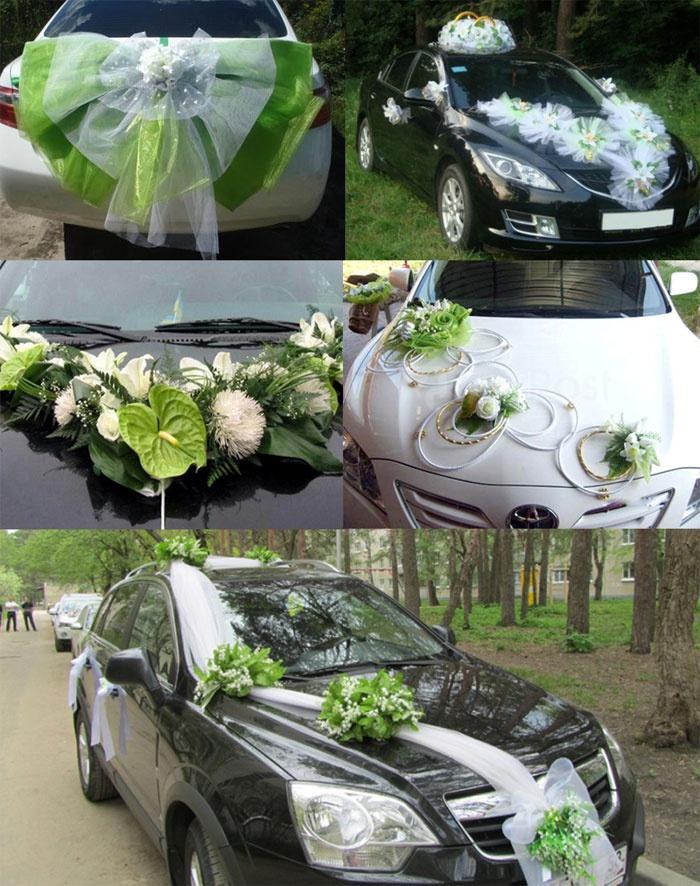 Украшение машин для кортежа салатовой свадьбы