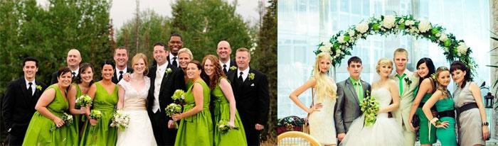 Одежда для свидетелей и гостей салатовой свадьбы