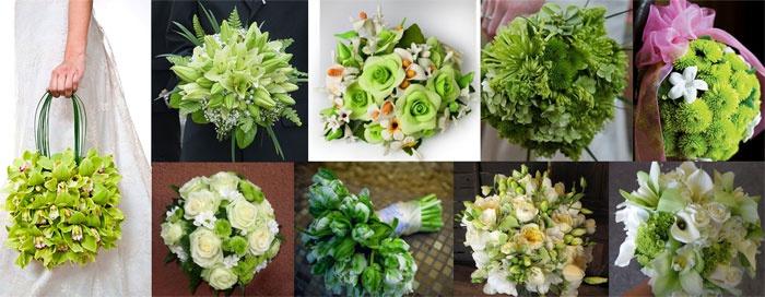 Салатовый букет невесты