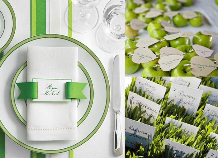 Карточки для гостей салатовой свадьбы