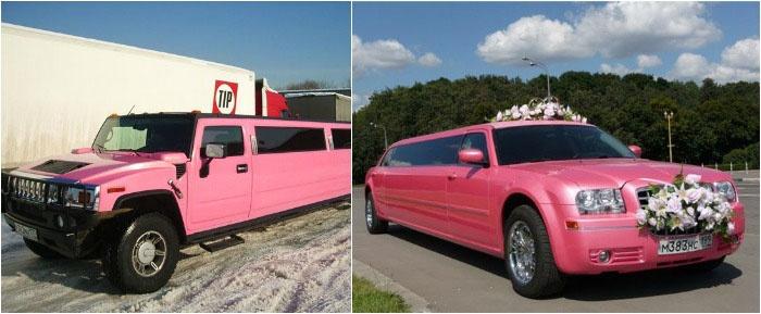 Оригинальные розовые лимузины на свадьбу