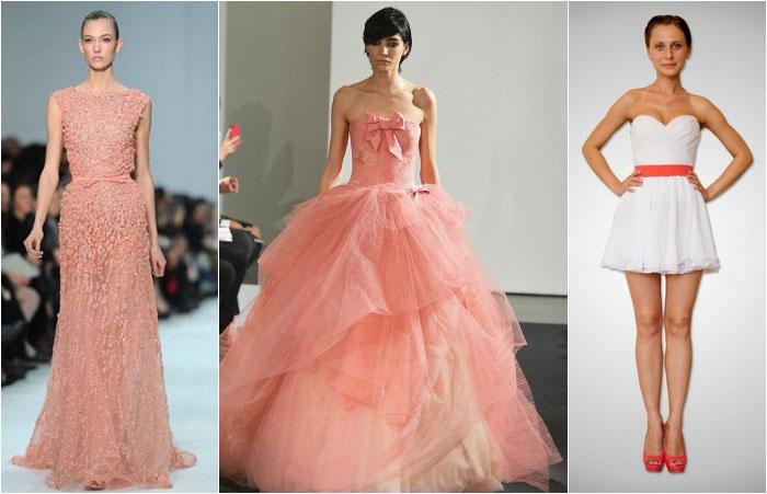 Свадебное платье невесты коралловой гаммы