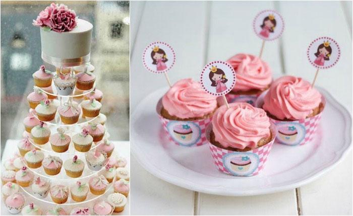 Торт-капкейк в розовой гамме