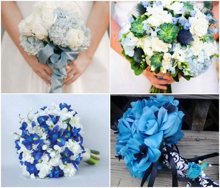 Букет голубых оттенков для невесты