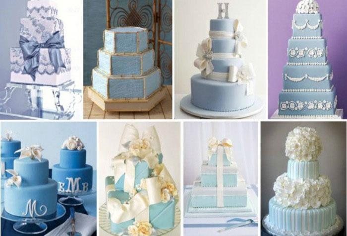 Праздничный торт к голубой свадьбе