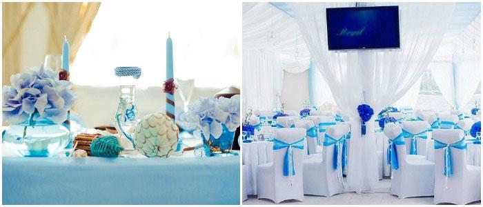 Свадебный зал для голубой свадьбы