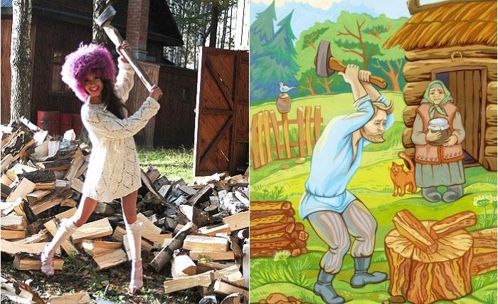 Веселый конкурс деревянной свадьбы: лесоруб