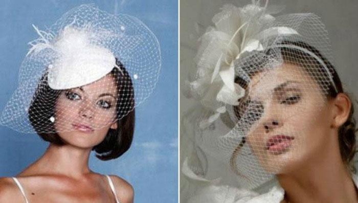 Головной убор к свадьбе с вуалью
