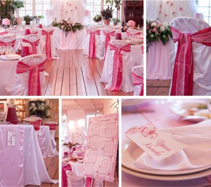 Свадебный декор помещения в малиновых тонах