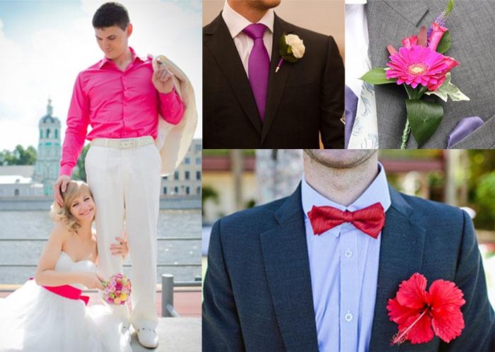 Свадебный наряд жениха в малиновом цвете