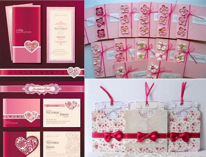 Пригласительные открытки на малиновую свадьбу