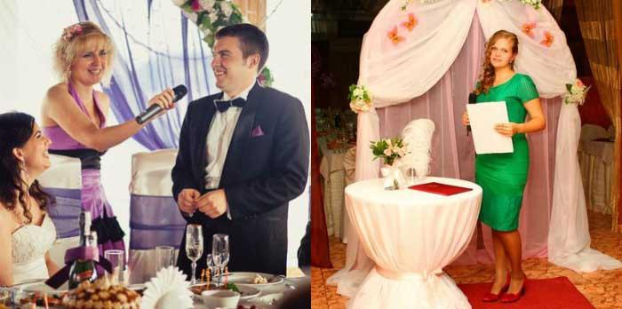 Свидетельница в роли тамады на свадьбе