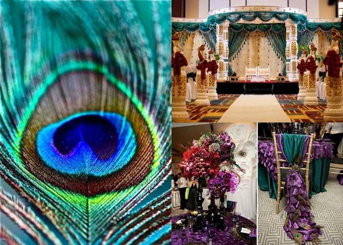 Декорация зала в индийском стиле «Павлинье перо»