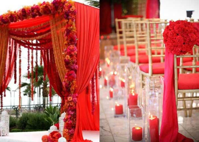 Красно-золотое оформление индийской свадьбы