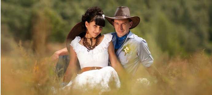 Ковбойские жених с невестой