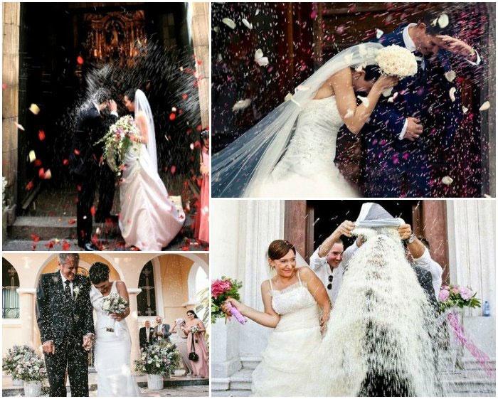Осыпание рисом мексиканских жениха и невесту