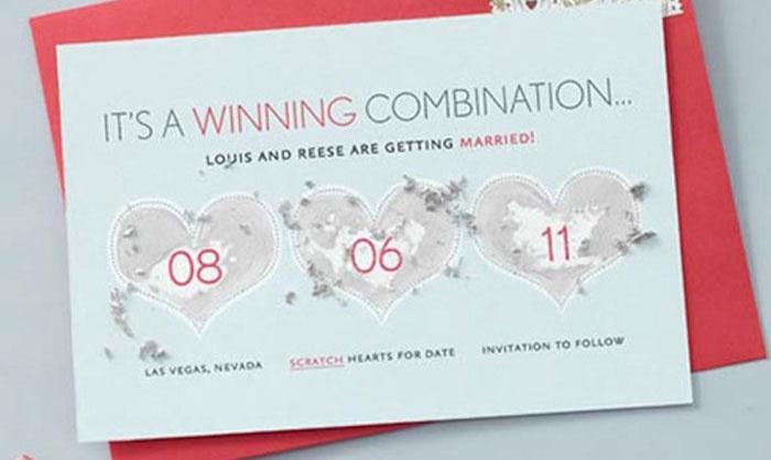 Свадебное приглашение в виде лотерейного билета