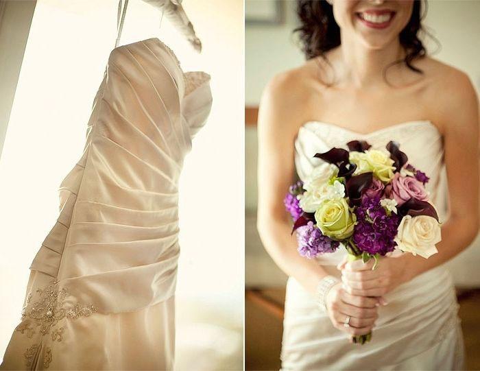 Сочетание платья айвори и букета невесты