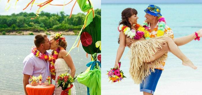 Гавайская стилистическая свадьба на пляже