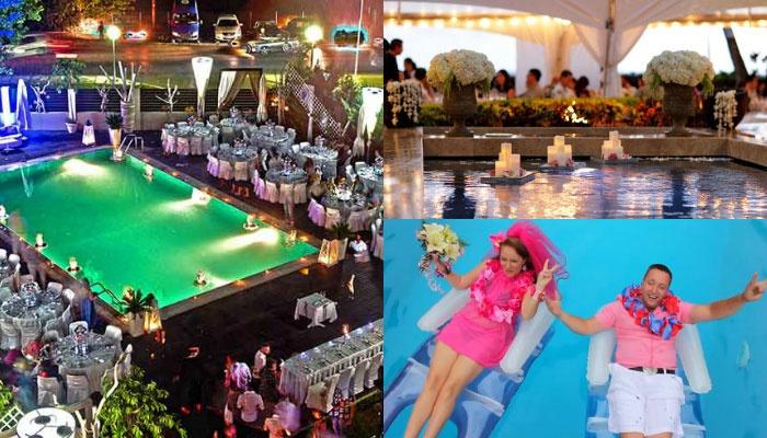 Оформление свадебной гавайской вечеринки у бассейна