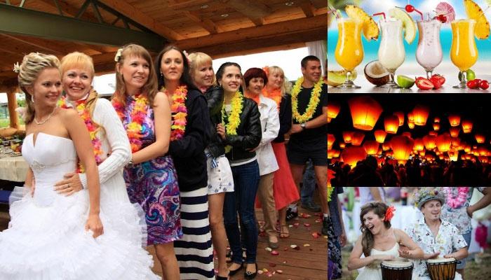 Развлечения на стильной гавайской свадьбе