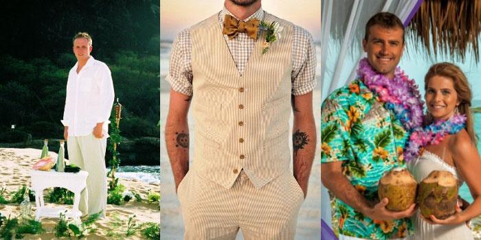 Варианты свадебного гавайского наряда для стильного жениха